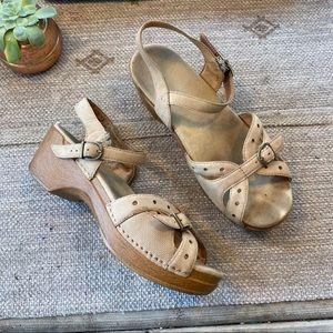 Dansko beige leather Mary Jane wedge size 40/ 10